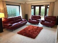 Red Leather 3 Piece Suite 2 Seater Sofa + 2 Armchairs Chrome Feet Excellent Condition