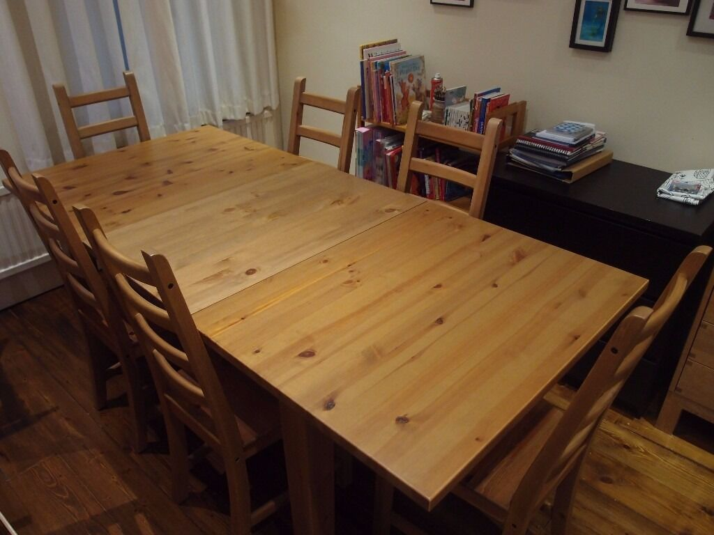 ikea extendable stornas dining table and 6 x kaustby chairs solid pine in wimbledon london. Black Bedroom Furniture Sets. Home Design Ideas