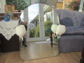 Curved & etched bathroom mirror with sidelights