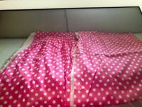 Girls pink spotted bedroom curtains