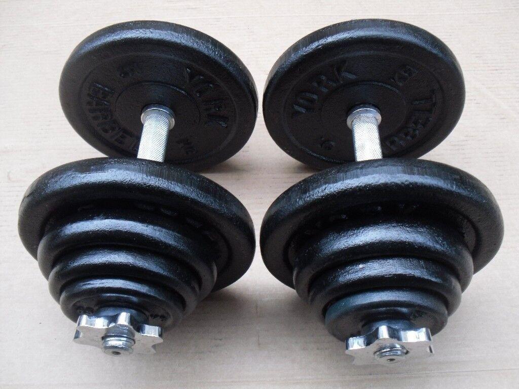 2 x 20kg Dumbbells -York cast iron weights