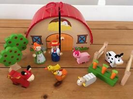 Wooden toy farm and barn