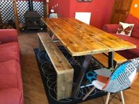 Handmade reclaimed scaffold dining table and chairs