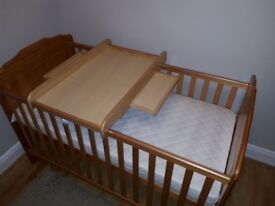 Obaby cot bed - size 140x70 with mattress & changer