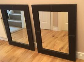 2 x leather bound Mirrors