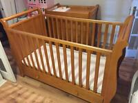 Wooden VIB nursery set, cot/bed and chest of drawers/changing station