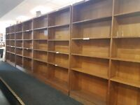 Large double sided wooden Library-style shelving. Great condition.