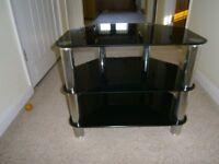 Glass and chrome TV and DVD Player/Sky box corner stand