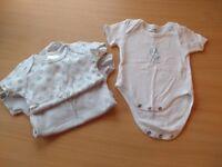 Singlet - Dome up short sleeve - White/Blue puppy - Newborn
