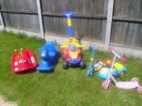 Toy Rocking Horse, Caterpillar, 2 Scooters and other Outdoor Toys