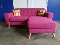 BRAND NEW FABB SOFAS BOUNCE 3 SEATER FABRIC CORNER SOFA / RETRO LOOKING SETTEE DELIVERY AVAILABLE