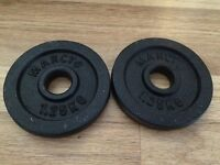 Brand New. Weight plates. Pairs of 0.5kg, 1kg, 1.25kg. 1.5kg, 2kg and 2.5kg