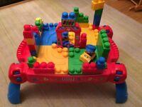 Mega bloks brick table including box and extra set of bricks, perfect condition