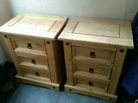 Excellent condition solid pine three drawer bedside tables