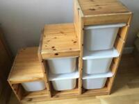 IKEA wooden storage unit with storage boxes included