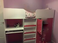 2 x Girls Pink and White Cabin bed, with desk, drawers and wardrobe £85.00 per cabin bed