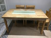 Solid Wood Dining Table (with or without) 4 Chairs for Sale