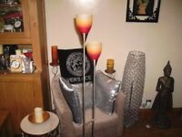 LAMP MODERN FREESTANDING WITH 2 LIGHTS WITH GLASS SHADES
