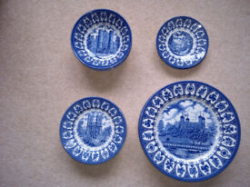 CHURCHILL BLUE AND WHITE CHINA PLATES, BOWLS AND SAUCERS