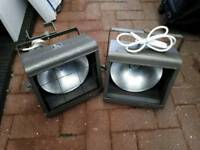 Pair of large vintage theatre lights