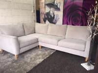 Furniture Village Copenhagen Fabric Left Hand Corner Sofa in Graceland Silver Light