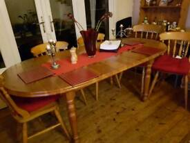 PINE WOOD TABLE AND CHAIRS
