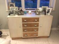 Shabby chic sideboard solid wood ivory