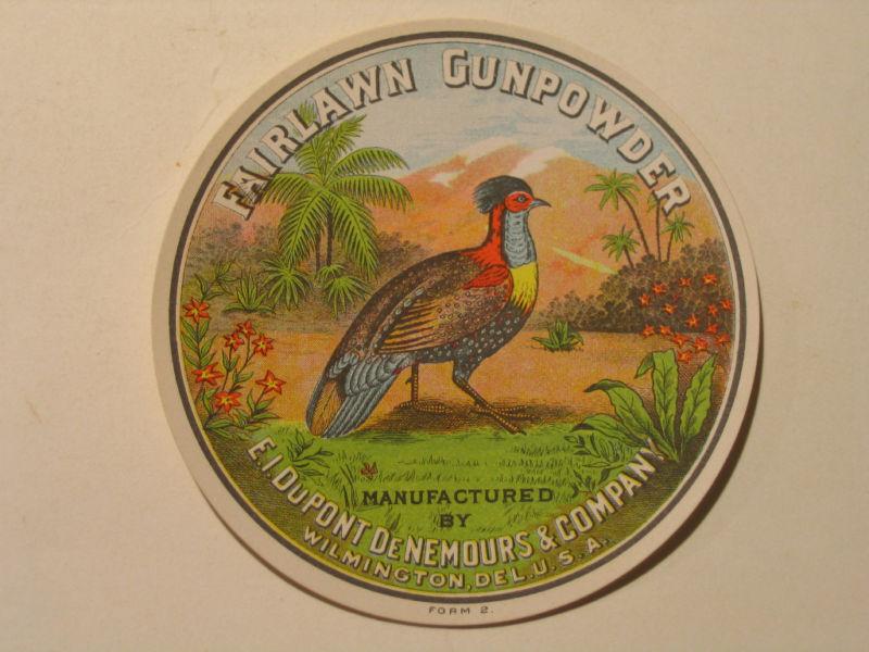 Vintage DuPont GUNPOWDER Label FAIRLAWN Pre-War MINT Original