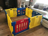 Very Large Playpen ( can be used smaller) with activities and gate