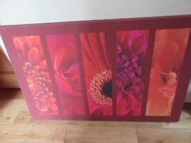 LARGE WALL CANVAS ABSTRACT FLOWERS REDS, PINKS, ORANGES