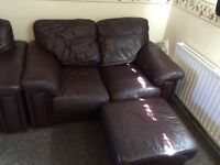 Brown leather sofa's 2double and 1single arm chair with footstool