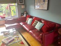 Leather corner sofa for sale.