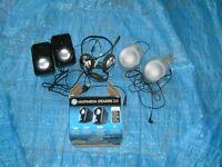 set of mini speakers,plus earphone and mike head set