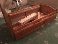 Wooden Single Bed with Storage Drawers