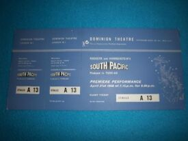 1958 South Pacific Stalls Ticket Dominion Tottenham Court Road IP1