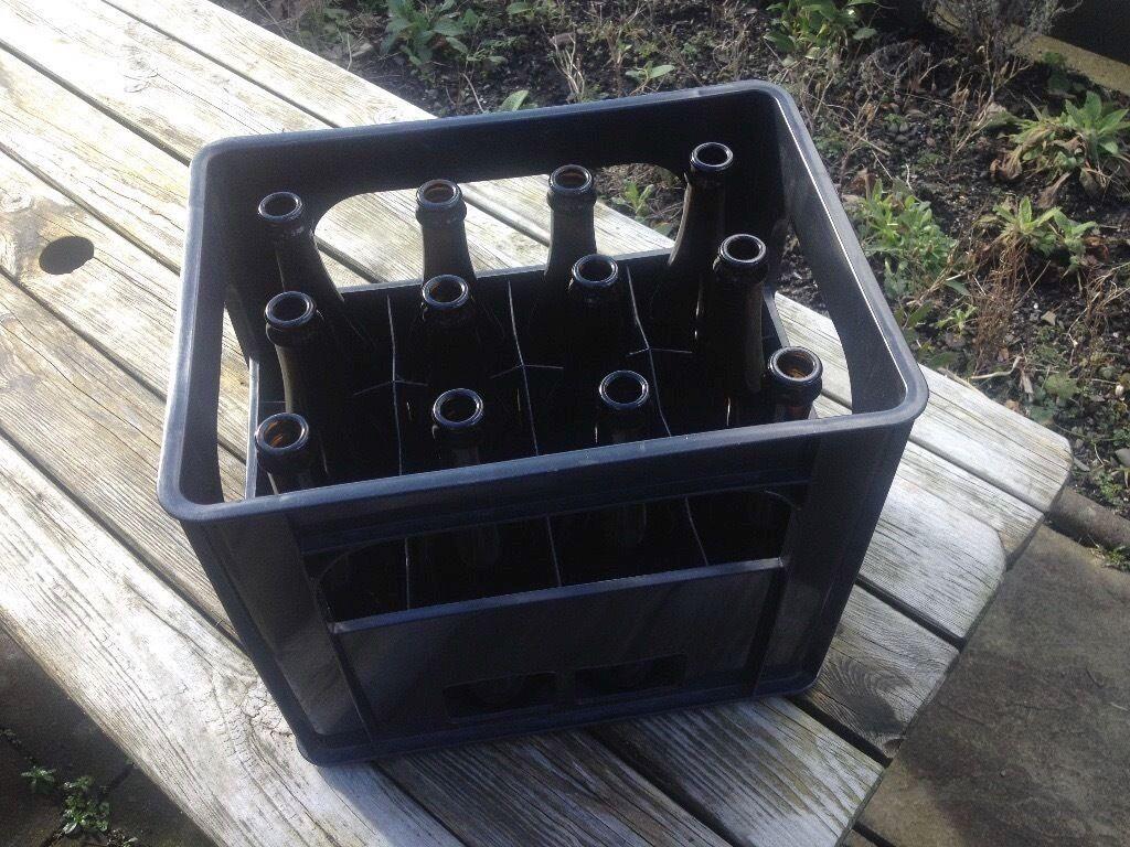 Black Plastic Wine Crate 12 Brown Glass Wine Beer