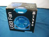 4'' USB Powered Desk Fan Office Home Use Adjustable Angle Blue