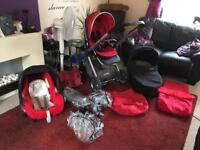 Tomato Red Oyster 2 full Travel System Pram, Maxi Cosi Car Seat & Stroller