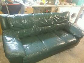 3 plus 2 green leather suite