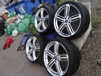 """set of 19"""" AUDI S-LINE alloys with matching YOKOHAMA tyres all round no cracks or buckles £425"""