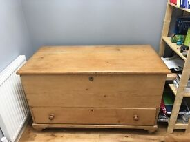 Victorian pine chest with drawer, ironwork hinges and side handles