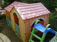 Outdoor Toys - 4 items - wendy house, trike, slide, car - job lot