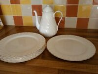 Wedgewood Bone China dinner plates and coffee pot
