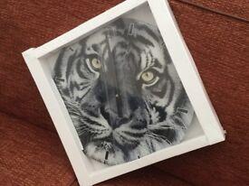 Tiger Head Wall Clock, New / Boxed
