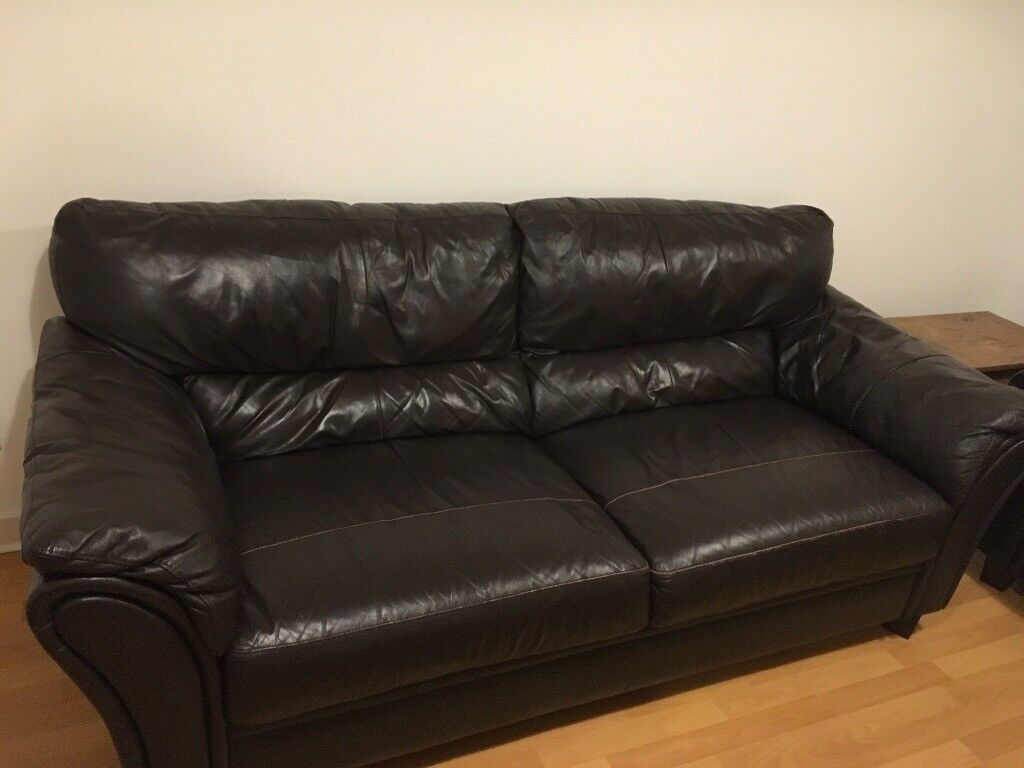 Chicolate Brown Leather Sofa 2 Sizes Available In