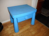 childs blue ikea mummut bed side table with drawer