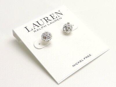 Ralph Lauren Ball Stud Earrings Silvertone Crystals New! NWT