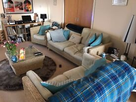 Complete rattan living room suite in excellent condition