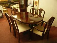 mahogany sheen shine extendable table with 6 chairs