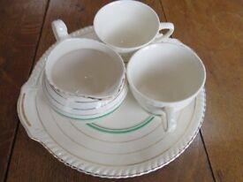 Vintage, Old English Johnson Brothers China, Cake Plate, Cream Jug + 2 Tea cups